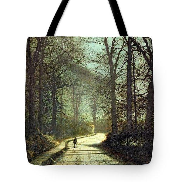 Moonlight Walk Tote Bag by John Atkinson Grimshaw