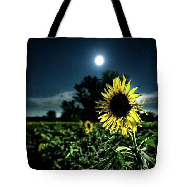 Tote Bag featuring the photograph Moonlighting Sunflower by Everet Regal