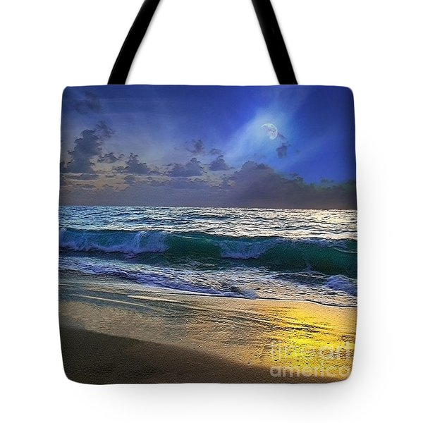Moonlit Beach Seascape Treasure Coast Florida C4 Tote Bag