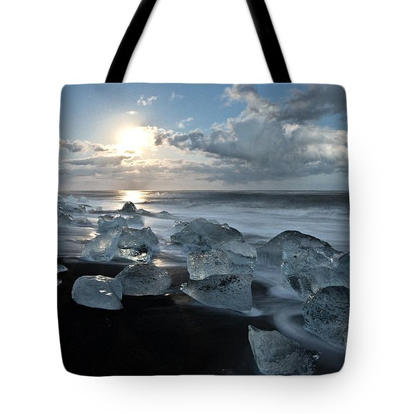 Moonlit Ice Beach Tote Bag by Roddy Atkinson