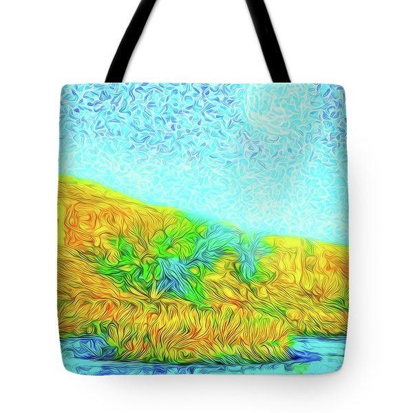 Tote Bag featuring the digital art Moonlit Island Blue - Boulder County Colorado by Joel Bruce Wallach