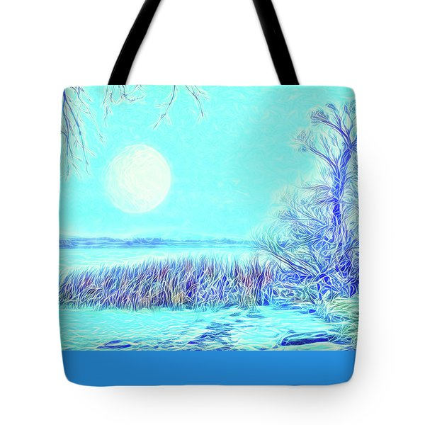 Tote Bag featuring the digital art Moonlit Lake In Blue - Boulder County Colorado by Joel Bruce Wallach
