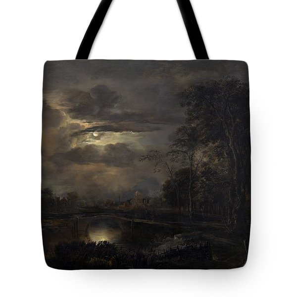 Moonlit Landscape With Bridge Tote Bag