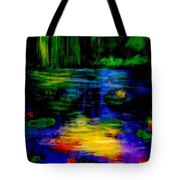 Tote Bag featuring the digital art Moonlit  Lily Pond  by Diana Riukas