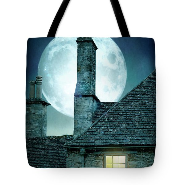 Moonlit Rooftops And Window Light  Tote Bag