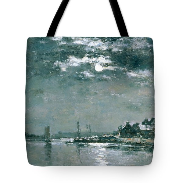 Moonlit Seascape Tote Bag by Eugene Louis Boudin
