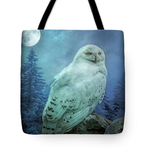 Moonlit Snowy Owl Tote Bag