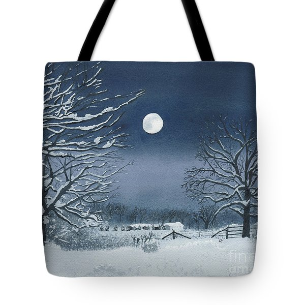 Moonlit Snowy Scene On The Farm Tote Bag