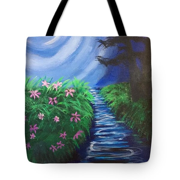 Tote Bag featuring the painting Moonlit Stream by Diana Riukas