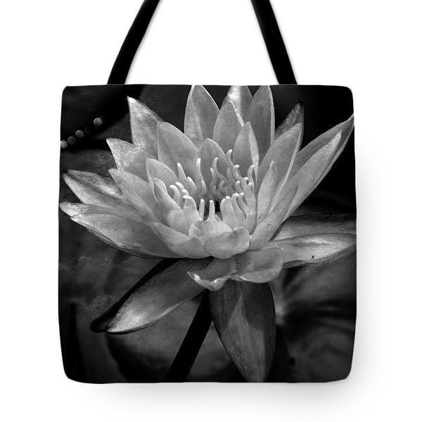 Moonlit Water Lily Bw Tote Bag