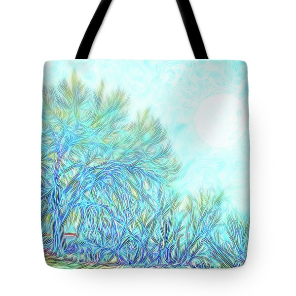 Tote Bag featuring the digital art Moonlit Winter Trees In Blue - Boulder County Colorado by Joel Bruce Wallach