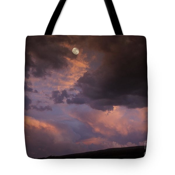 Moonrise And Sunset Tote Bag by Sandra Bronstein
