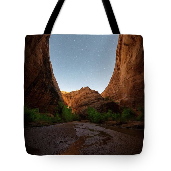 Tote Bag featuring the photograph Moonrise At Coyote Gulch by Dustin LeFevre
