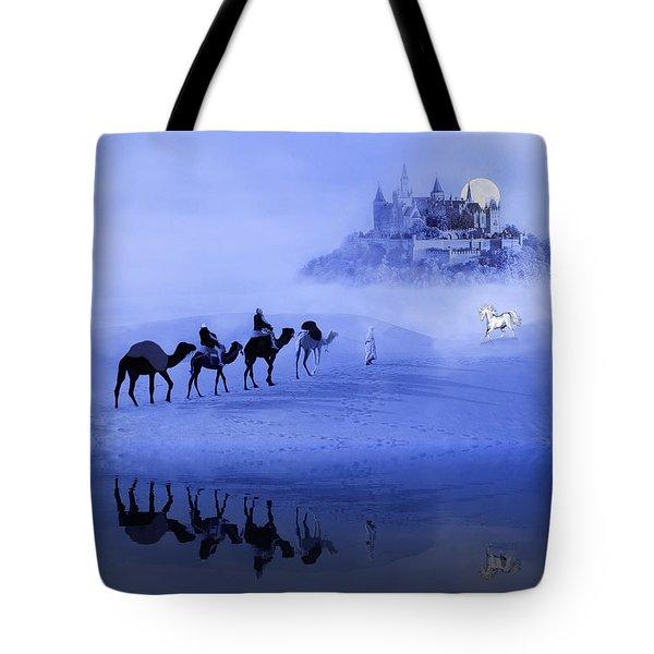 Moonrise At The Magical Oasis Tote Bag