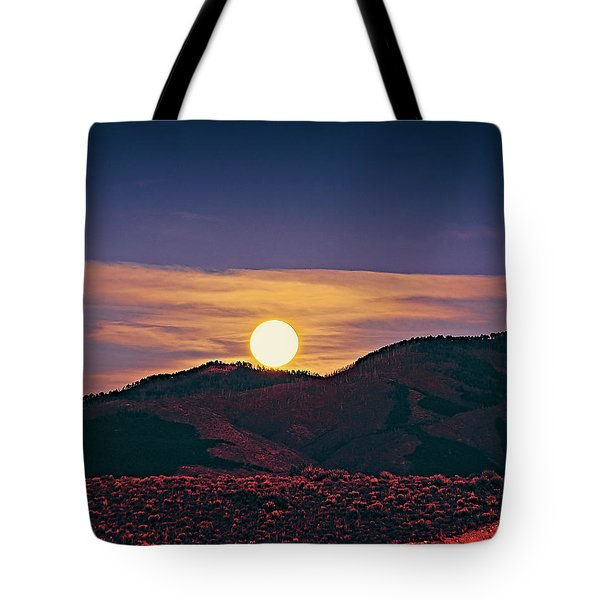 Moonrise In Northern New Mexico  Tote Bag