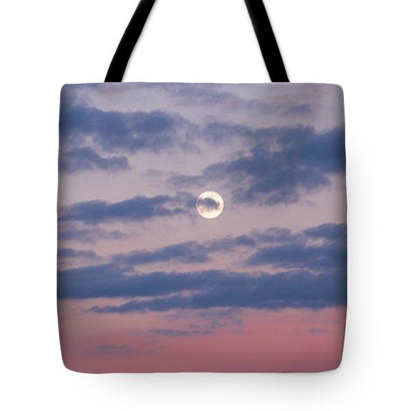 Moonrise In Pink Sky Tote Bag