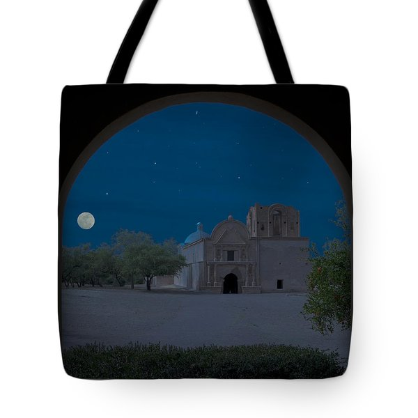 Moonrise On Tumacacori Mission Tote Bag by Sandra Bronstein