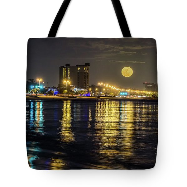 Moonrise Over Biloxi Tote Bag