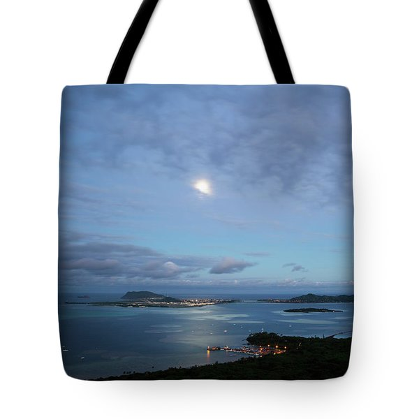 Tote Bag featuring the photograph Moonrise Over Kaneohe Bay by Charmian Vistaunet