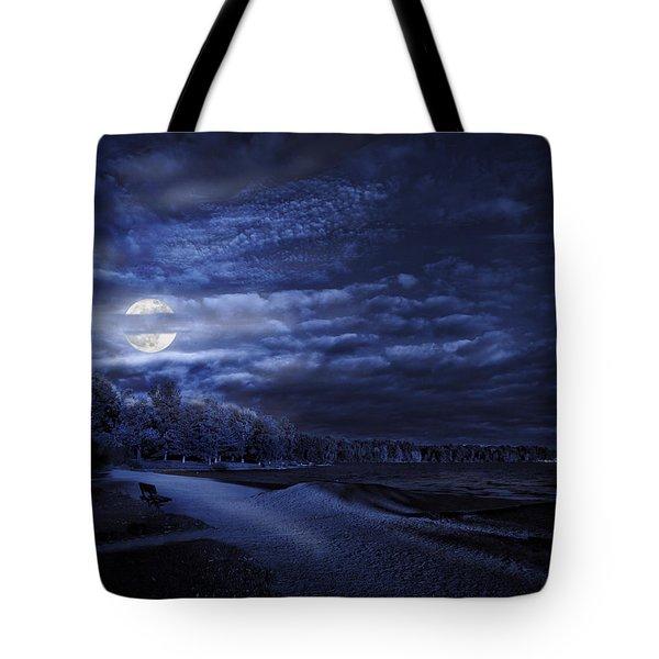 Moonrise Over Pymatuning Lake Tote Bag