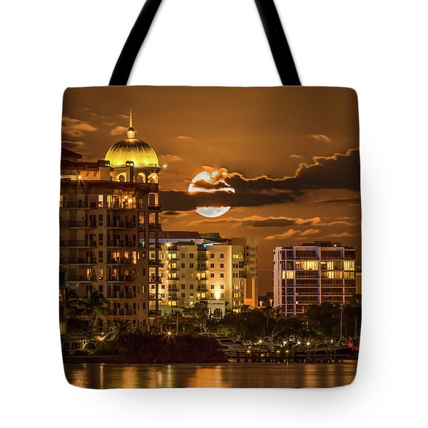 Moonrise Over Sarasota Tote Bag