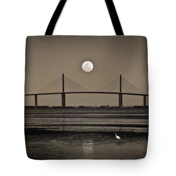 Moonrise Over Skyway Bridge Tote Bag