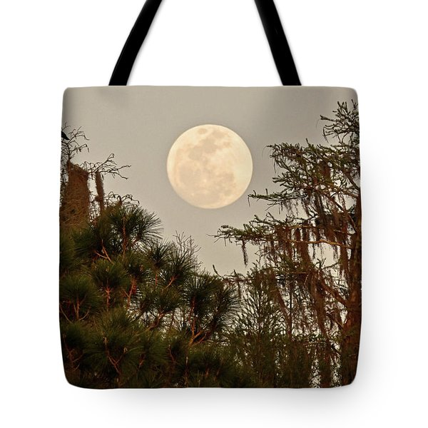 Moonrise Over Southern Pines Tote Bag