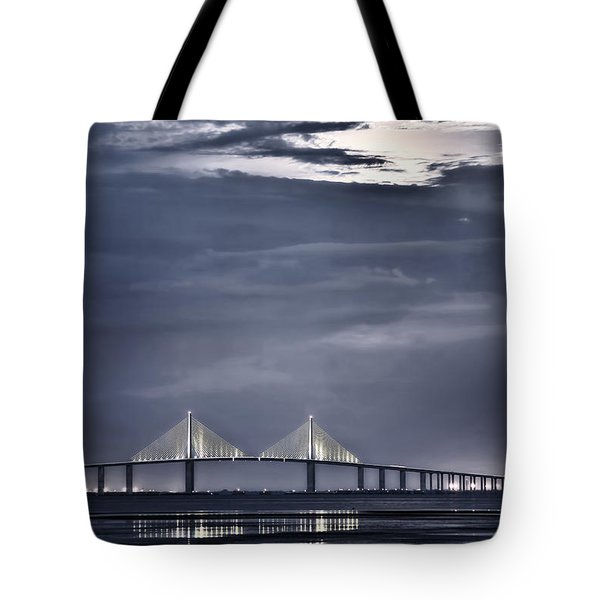 Tote Bag featuring the photograph Moonrise Over Sunshine Skyway Bridge by Steven Sparks