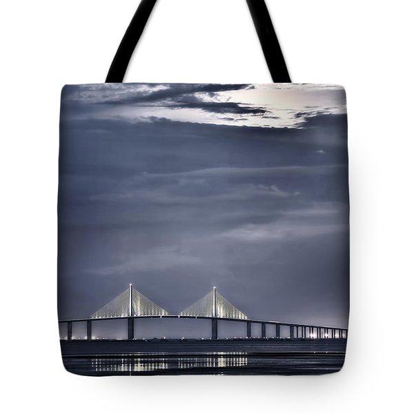 Moonrise Over Sunshine Skyway Bridge Tote Bag by Steven Sparks