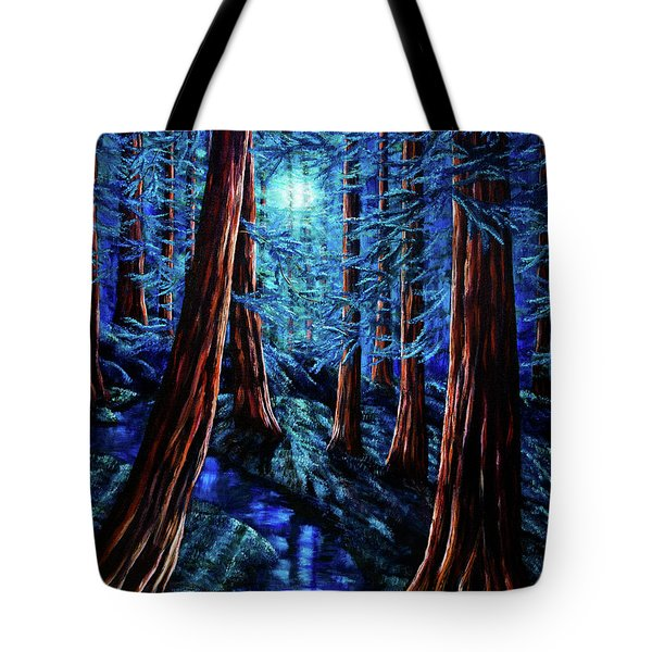 Moonrise Over The Los Altos Redwood Grove Tote Bag by Laura Iverson