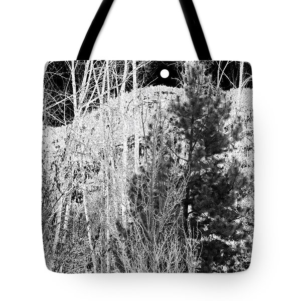 Tote Bag featuring the digital art Moonrise Over The Mountain by Will Borden
