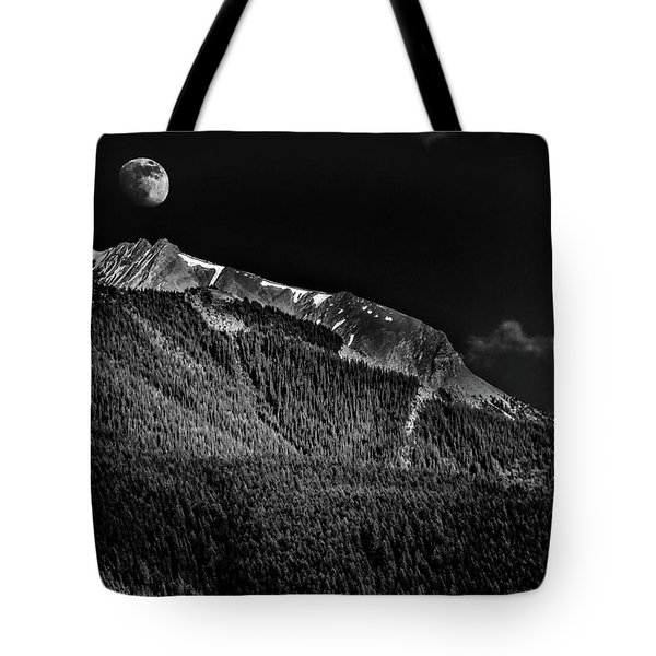 Moonrise Over The Rockies Tote Bag