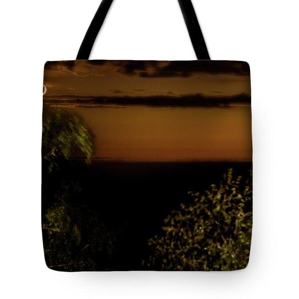 Tote Bag featuring the photograph Moonset At Bay Harbor by Onyonet  Photo Studios