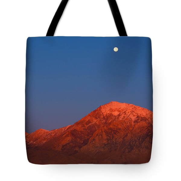 Tote Bag featuring the photograph Moonset At Dawn Above Mount Tom - Eastern Sierra California by Ram Vasudev