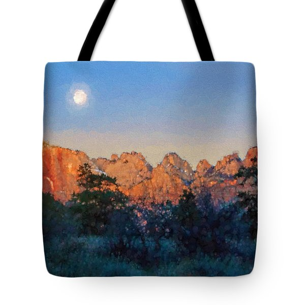 Moonset In Zion Tote Bag