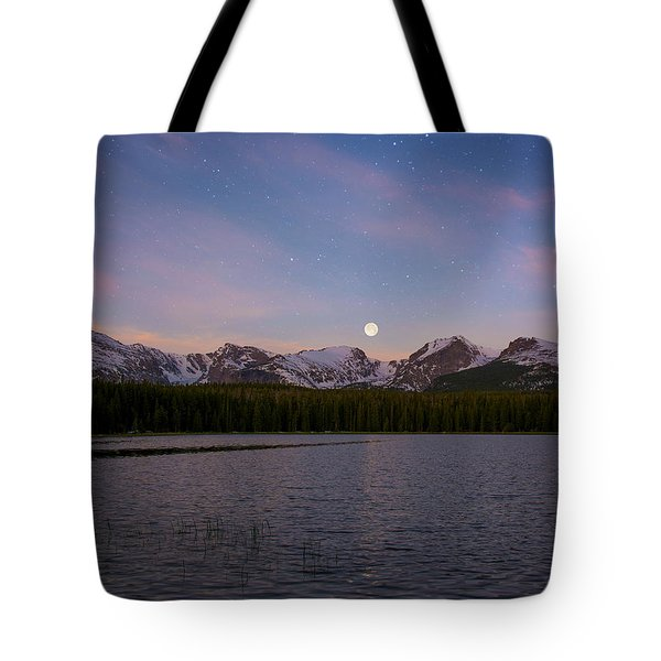 Tote Bag featuring the photograph Moonset On Bierstadt Lake by Aaron Spong