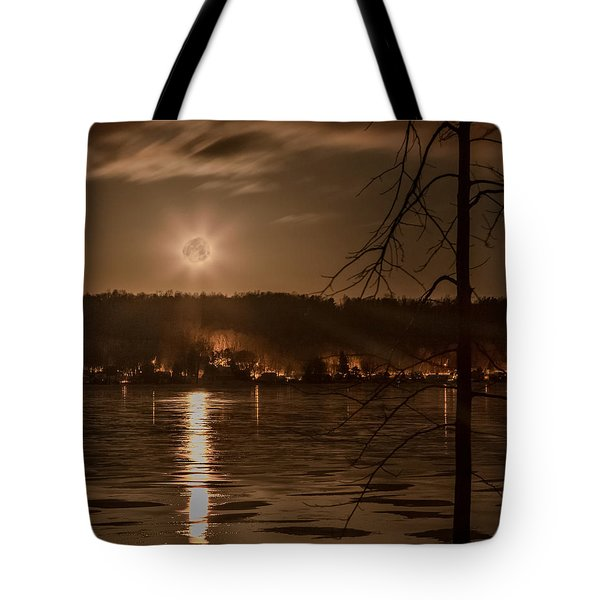 Moonset On Conesus Tote Bag