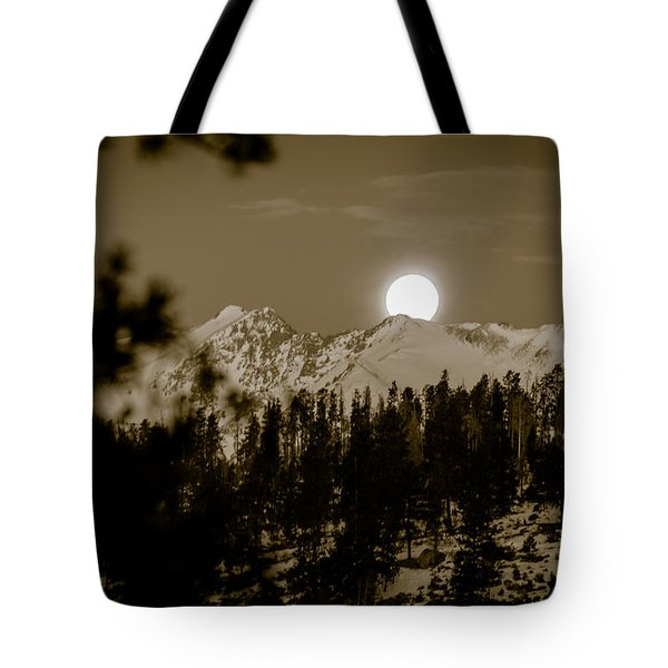 moonset over the Rockies Tote Bag