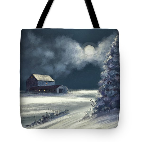 Tote Bag featuring the digital art Moonshine On The Snow by Lois Bryan