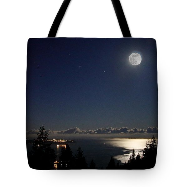 Moonshine Over English Bay Tote Bag