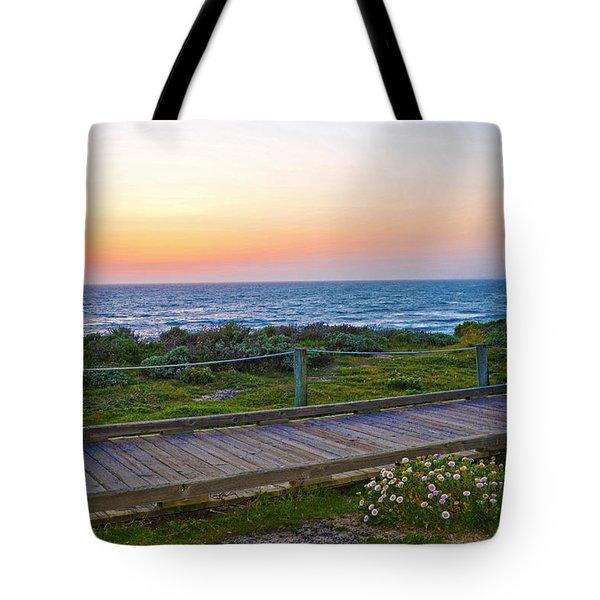 Moonstone Beach Boardwalk Tote Bag by Lynn Bauer
