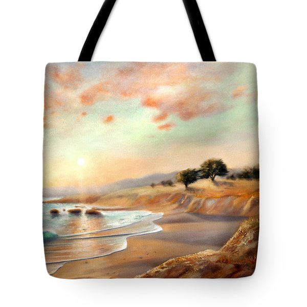 Tote Bag featuring the painting Moonstone Beach California by Michael Rock