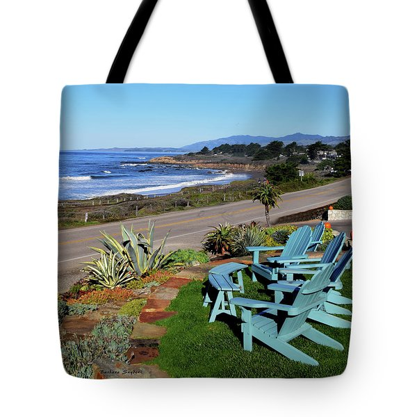 Tote Bag featuring the photograph Moonstone Beach Seat With A View by Barbara Snyder