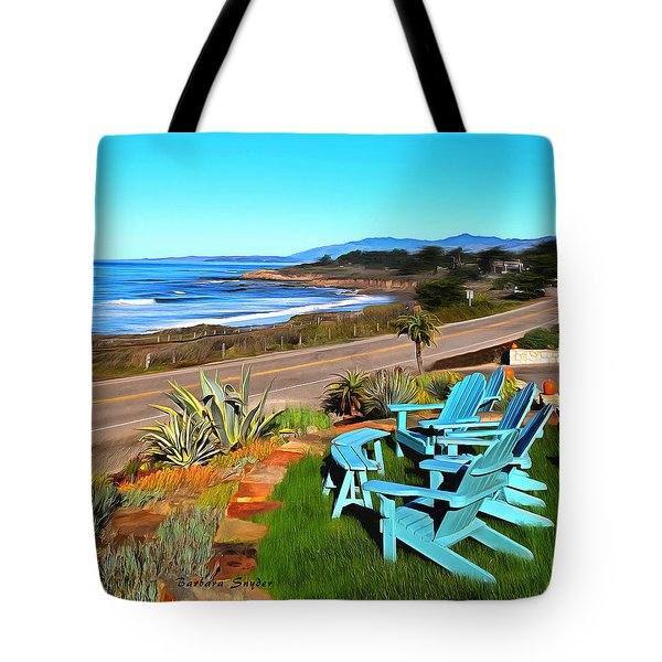 Tote Bag featuring the photograph Moonstone Beach Seat With A View Digital Painting by Barbara Snyder