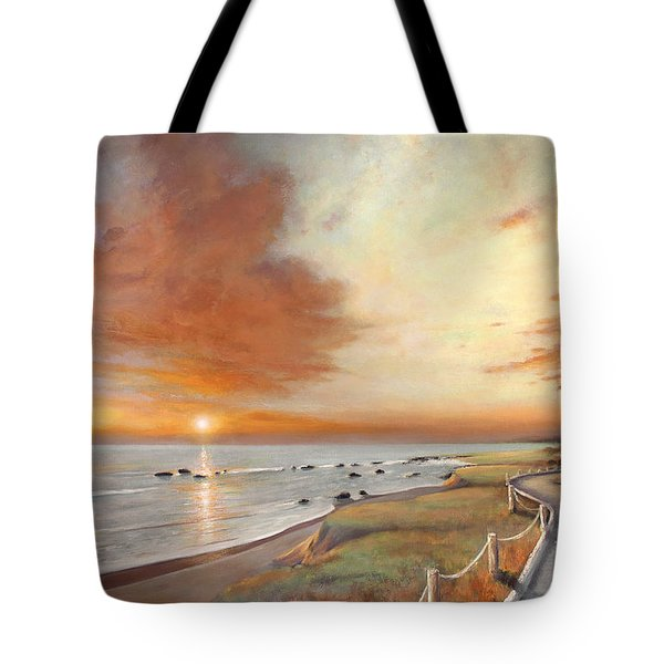Tote Bag featuring the painting Moonstone Cambria Sunset by Michael Rock