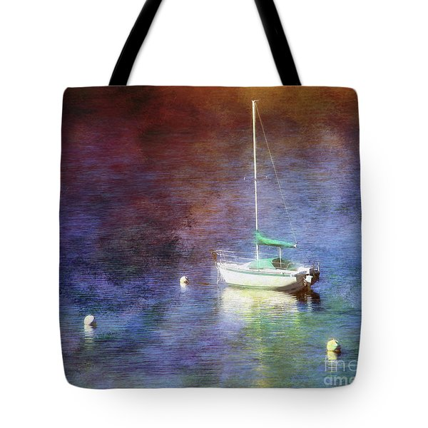 Moored Sailboat Tote Bag by Clare VanderVeen