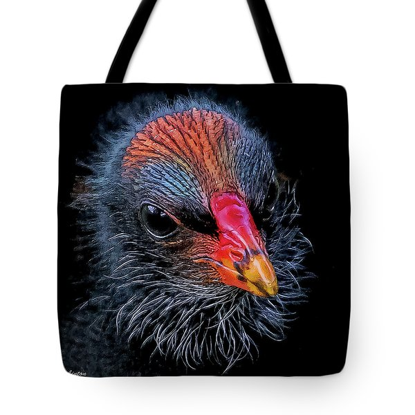 Tote Bag featuring the digital art Moorhen Chick by Larry Linton