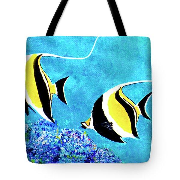 Moorish Idol Fish  #50 Tote Bag by Donald k Hall