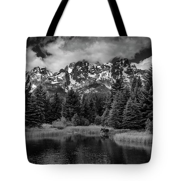 Tote Bag featuring the photograph Moose At Schwabacher's Landing by Gary Lengyel