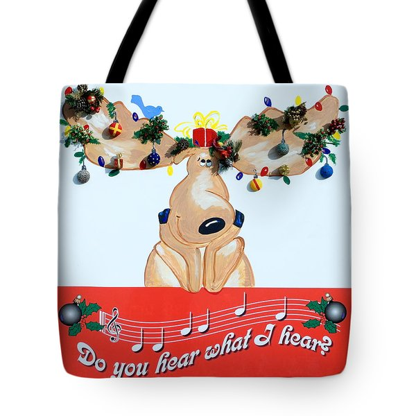 Moose Christmas Greeting Tote Bag by Sally Weigand